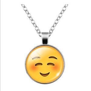 Jewelry - Blushing ☺️ Emoji Glass & Silver Necklace